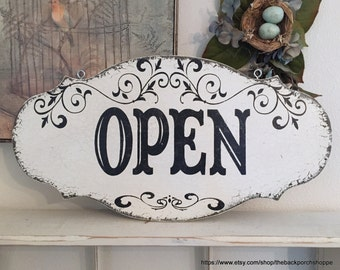 OPEN CLOSED Sign, Open Shut Sign, Reversible Open Closed Signs, Business Signs, 24 x 12