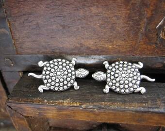 Turtle Earrings, Tortoise Earrings, Sea Turtle, Beach, Ocean,  Marine Life, Sea Animal, Silver Turtle, Pierced, Stocking Stuffer, For Her
