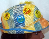 Reserved just the hat... 7-Eleven Seven Straw hat with 8 pin back buttons vintage Slurpee Slurped