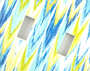 Ikat Chevron Double Light Switch Cover Switchplate -- Blue Yellow Lime