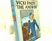 """1947 """"Vicki Finds The Answer"""" Vintage Book By Helen Wells  The Vickie Barr Flight Stewardess Series"""