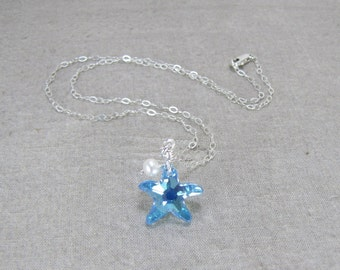 Starfish Necklace, Crystal Starfish, Aquamarine, Aqua Blue , Pearl, Summer, Sterling Silver, Jewelry, Marine, Ocean, Necklace