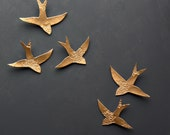 Porcelain wall art sculpture Swallows over Morocco Gold birds Ceramic 3d wall art Bathroom Bedroom Living room set of 5 MADE TO ORDER
