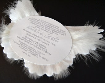 Angel Wing Invitation, Angel Baby Shower Invite, Heaven Sent Baptism