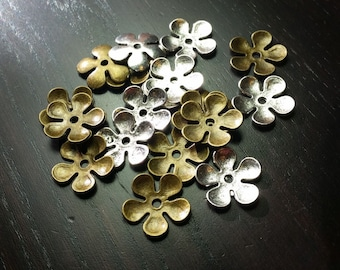 CLEARANCE !!! Metal Flower Bead/Base in Pewter / Brass Mix ...20ct.