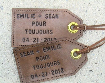 Personalized - His and Hers - Pour Toujours - Set of Two Leather Luggage Tags