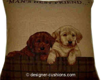 Labrador Puppies - Mans Best Friend in Frame Tapestry Cushion Cover