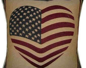 USA Flag Stars & Stripes Heart Shape Woven Tapestry Cushion Cover Sham