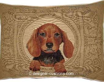 Medallion Dachshund Light Oblong Tapestry Cushion Pillow Cover