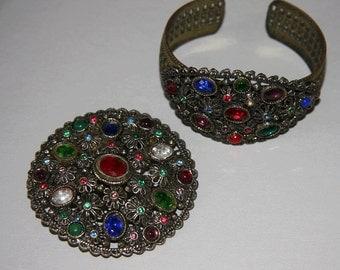 Vintage 1930s Jeweled Bracelet And Brooch Set Cuff Bracelet Coloured Rhinestones