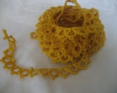 Tatted VINTAGE Yellow Gold Scallop Edge Tatted Lace Trim