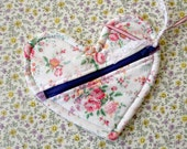 Heart Shaped Zipper Pouch  Valentines Day Bridesmaid Gift Idea
