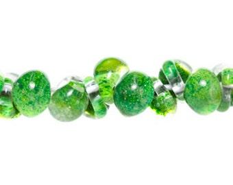 10 Caterpillar Green Teardrop Handmade Lampwork Beads - 13mm (22466)