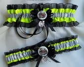 Firefighter Wedding Garters Maltese Cross Fire Truck Charms Turn Out Gear Black and Neon Yellow Garters