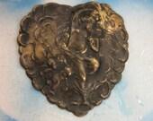Hand Oidized Patina Angelic Cupids Brass Heart Charms 1162HOX x1
