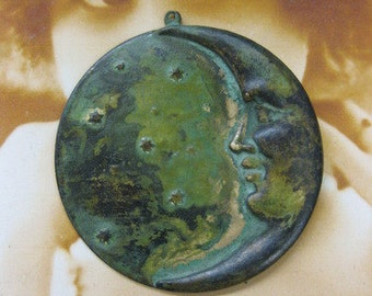 Verdigris Patina Large Crescent Moon and Star Pendant Charms 166VER x1