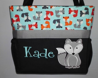 Urban Zoologie ... Aqua Gray  FOXES .. DIAPER Bag .. Applique  ... Bottle Pockets ... Personalized Free