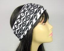 Yoga Head Wrap Workout Headbands Lycra Headbands Black and White Head Wrap Aztec Head Wrap Tribal Headband Womens Head Wraps Headbands