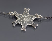 Snowflake Necklace - Etched Sterling Silver Snowflake - Holiday Snowflake Jewelry