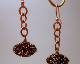Wire and Chain Dangle Copper Earrings