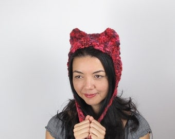 Red Kitty Hat Cat Hat in Red and Purple Hand Knit Wool