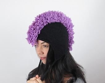 Mohawk Purple Hat Lilac Purple Wool Hand Knit Purple Mohawk Hat