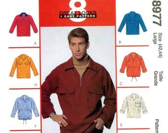 McCalls 8977 Mens Shirt Tops Hood Pullover Polar Fleece Size 42 44 Uncut Sewing Pattern 1997