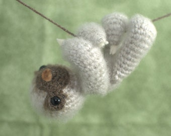 Amigurumi Two-Toed Baby Sloth, crochet sloth plush