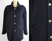 Albert Nipon alpaca wool coat | vintage oversized navy wool coat | raglan sleeve coat | S-M
