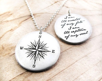 Compass Necklace Invictus quote, Inspirational necklace, graduation, I am the master of my fate, compass jewelry, gift for him mans necklace