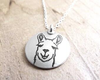 Llama necklace silver, llama jewelry