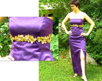Purple Prom Party Dress, Strapless Formal Dress, Modern Size 6 Small