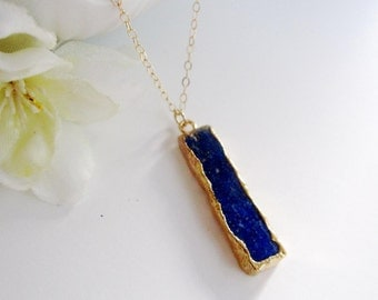 Blue Lapis Bar Necklace, Modern, Minimalist Jewelry, Gift for Her, Gemstone Jewelry, Long Layering Jewelry, Gardendiva
