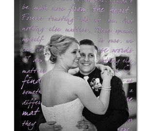 Wedding sign Canvas Art Personalizedand Words CUSTOM vows lyrics Wedding Anniversary Gift Art  16x20  inches