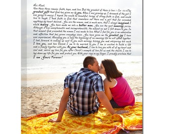Gift  For Her Wedding Pictures to Canvas Art Personalized with Your Words Vows lyrics Geezees Canvas Vows Personalized Couple Gift