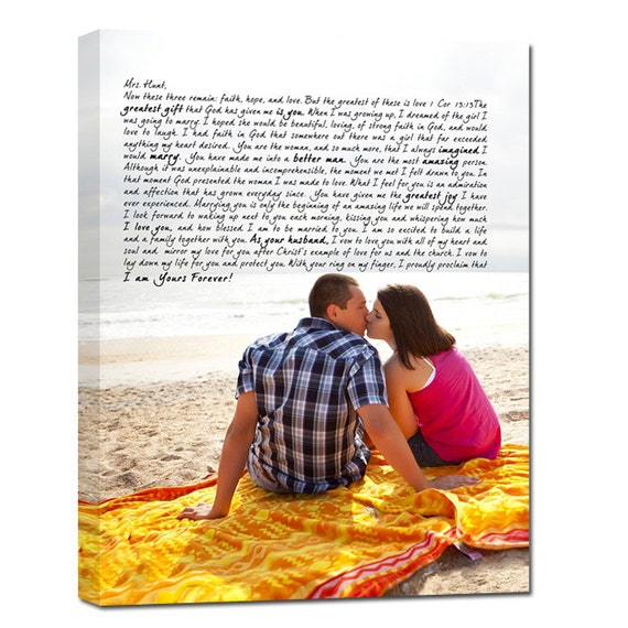Your Wedding Pictures to Canvas Art Personalized with Your Words Vows lyrics Geezees Canvas Vows  Valentines Day Gift