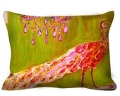 Peacock Pillow ~ Chinoiserie Decorative Throw Pillow ~ Pink Chandelier ~ Bohemian Pink Peacock Feathers ~ New Orleans Decor
