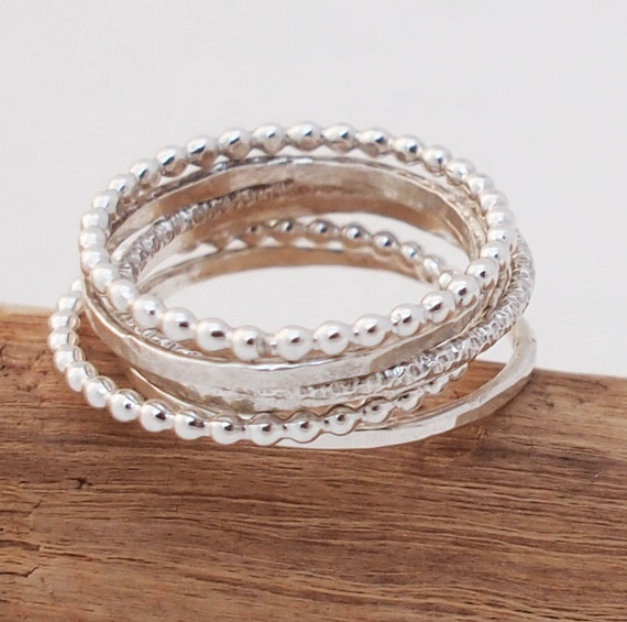 items similar to stacking rings thin silver stacking rings