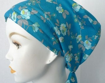 Floral Chemo Cancer Hat Cap Head Wrap Alopecia Bad Hair Day Fitted Hair Loss Scarf 100% Cotton
