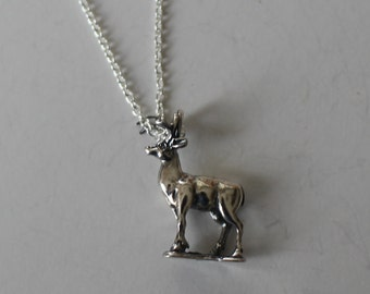 Sterling 3D DEER, BUCK Pendant and 18 Inch Chain - Wildlife, Hunting