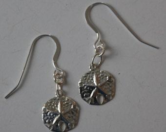 Sterling Silver SAND DOLLAR Earrings  - Beach, Seashore