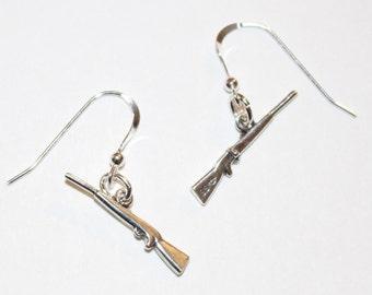 Sterling Silver RIFLE Earrings - Gun, Weapon, Sports, Hobby