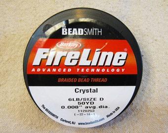 "6 lb Crystal Fireline Braided Beading Thread Size D .008"" Avg Diameter 50 yards"