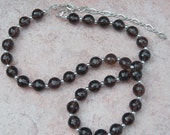 Genuine Smoky Quartz and Sterling Silver Necklace, Cavalier Creations