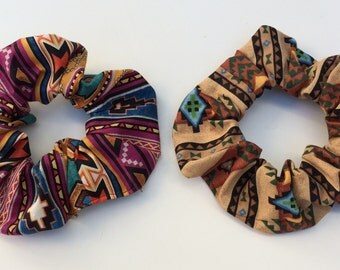 2 Hair Scrunchies, Scruncheys, Set Lot, African Tribal Southwest Indian Mexican Boho Aztec, Scrunchys Ponytail Pony Tail Holders Covers