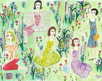 Pretty girls reading dark books on a summer day.  Limited edition print of an original watercolor painting by Vivienne Strauss.