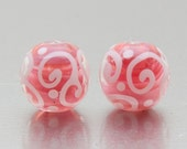 MTO Bead Pair - Helix in pearl pink and white. Lampwork glass beads by Jennie Yip