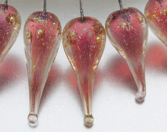 Lampwork headpins - Shimmer teardrops - coral pink on sterling silver wire - by Jennie Yip