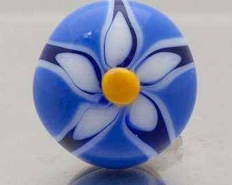 Glass scatter pin - Flower in blue and white - lampwork glass by Jennie Yip