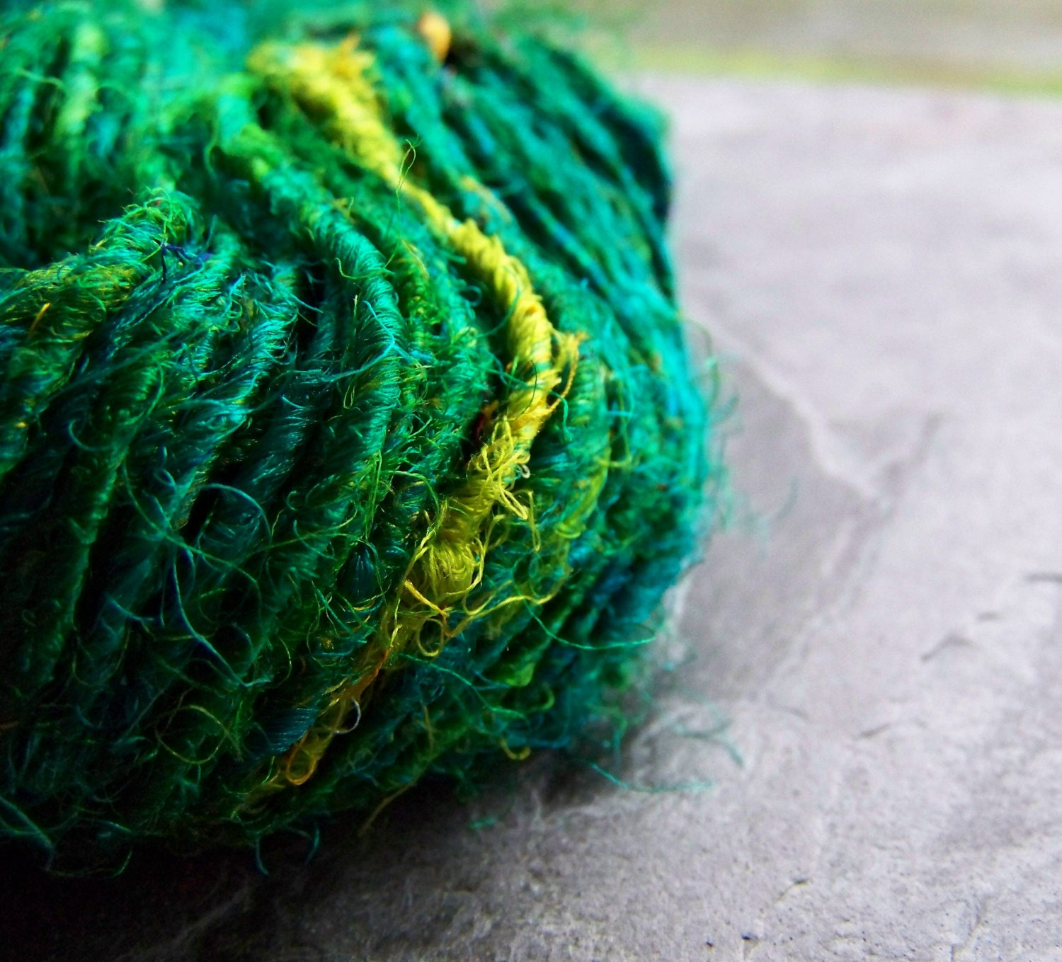 Recycled Silk Sari Yarn- Silk Sari Yarn-Peacock-Green Silk ...